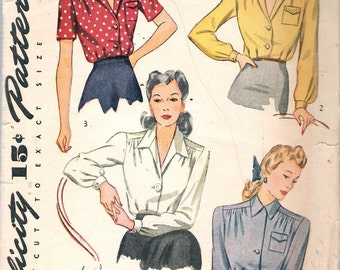 """Vintage 1942 Simplicity 4139 WWII Blouse Set Sewing Pattern Size 12 Bust 30"""""""
