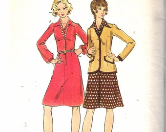 "Vintage 1970's Butterick 6845 Misses' One-Piece Dress & Jacket Sewing Pattern Size 14 Bust 36"" UNCUT"