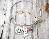 Personalized - Bangle - Name and Birthstone - Charm Bracelet - Mother Bracelet - Footprints - Baby Feet - Grandmother - New Mom