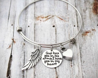 Bangle - God Has You In HIs Arms I Have You In My Heart - Memorial Bracelet - Cremation Bracelet - Ashes - Sympathy Gift - Heart Urn
