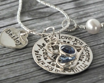 Personalized Mommy Necklace / Baby Footprints / Mom Gift / Sterling Silver Hand Stamped Jewelry