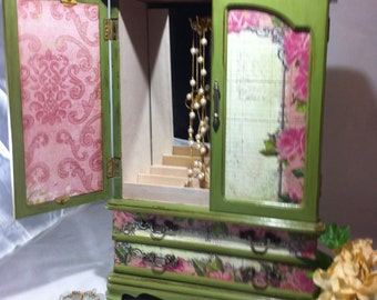 Large Jewelry Box Armoire Green Chalk Paint, Jewelry Cabinet Pink Roses and Blue Script, Pink Damask Jewelry Storage, Jewelry Organizer
