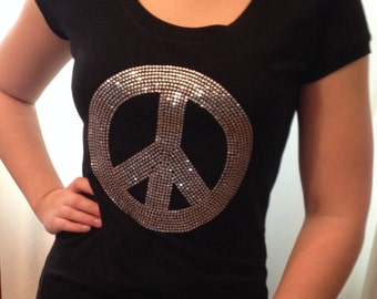 Sale, Peace T Shirt , Rhinestone Shirt, Peace Top, Inspirational T shirt,Sparkle Peace sign Shirt