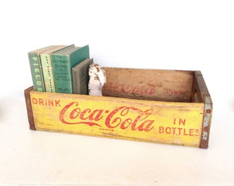 Vintage Yellow Coke Crate, Coca-Cola Wood Crate, Yellow and Red Cola Crate, 1966 Open Coke Crate