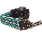 Hemp Camera Strap - Teal Vintage Style Woven Ribbon on Organic Hemp Webbing and Leather Ends - works with DSLR, SLR and Manual Cameras