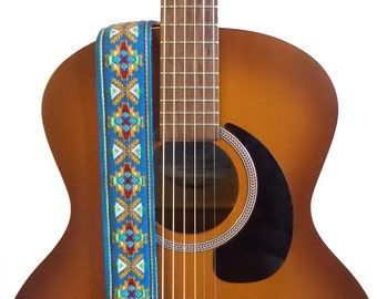 Guitar Strap - Blue Southwestern Woven Ribbon on Organic Hemp Webbing - Vintage Style Strap - Acoustic, Electric and Bass Guitars