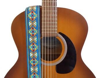 Hemp Guitar Strap - Blue Southwestern Woven Ribbon on Organic Hemp Webbing - Vintage Style Strap - Acoustic, Electric and Bass Guitars