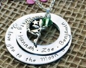 Love You to the Moon & Back Necklace, Personalised Jewellery, Personalised Christmas Gift, Christmas Present for Mum, Gift for Her