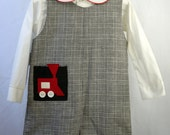 Vintage Boys Romper in Houndstooth with Red Train on pocket and Long-Sleeved Shirt- size 4t- New, never worn