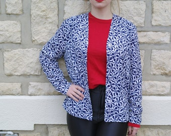 Vintage 90 jacket with blue and white flower