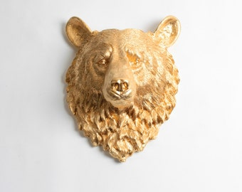 Faux Taxidermy - The Honey - Gold Resin Bear Head- Resin White Faux Taxidermy- Chic & Trendy