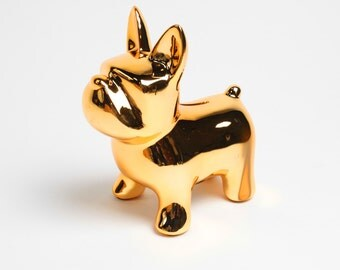 SALE - The Doggy Bank - Metallic Gold Money Bank - Table Top Dog Decoration - Kids Room Decor Animal Statue, Piggy Bank, Swear Jar