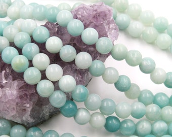 Lot of 5 strands 8mm Blue Amazonite (N) Loose Spacer Beads Round 15.5 inch strand (BD5927)