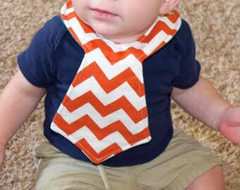 Orange Chevron Baby Necktie Bib