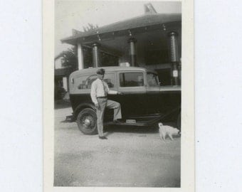 Ray's Fine Baked Goods Van Driver, Dog at Gas Station 1930s-40s: Vintage Snapshot Photo (511427)