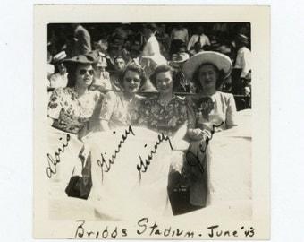 Girlfriends at Briggs Stadium, June 1943 Vintage Snapshot Photo (511428)