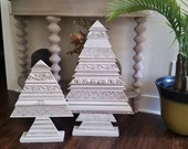Set of 2 Wood Christmas Tree Sculptures, Alternative Christmas Tree, Wood with Decorative and Embossed Molding Christmas Decor, Wood Tree
