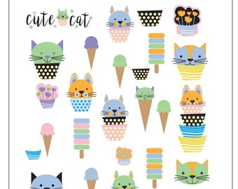 Ice Cream and cute cat SVG Frames - SVG Cut Files - catlovers Files SVG Silhouette files Svg Cricut files - nicemiceforyou