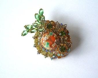 Vintage Juliana D & E Easter Egg Coral Stippled Brooch