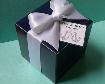 "50 Navy Blue 3"" Square Favor Boxes with White Satin Ribbon"