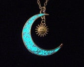 Moon And Sun Necklace Glow In The Dark Moon Sun Jewelry Glowing Sun And Moon Necklace Antique Silver (glows aqua blue)