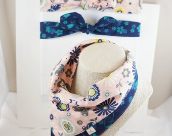 NEW/set of 3/All-IN-1 Baby toddler REVERSIBLE bandana bib-scarf-drool bib/burp cloth /wipe cloth+adjustable headband