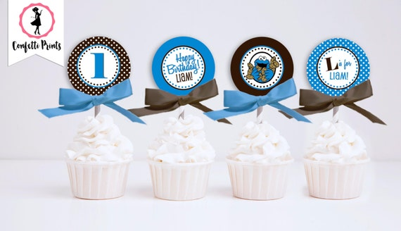 COOKIE MONSTER Birthday Cupcake Toppers Printable