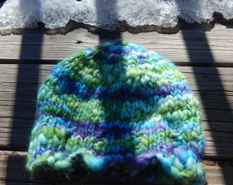 Hand knit merino wool top hat - child to adult size hat - merino wool top yarn hat - hand spun yarn hat - winter hat