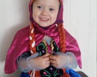 Crochet Frozen Anna Inspired Wig Hat Orange Red Hair Bangs with Braids