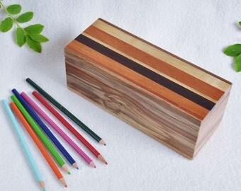 Red Gum Wood Box - pen/pencil box- jewelry box -Father's Day, anniversary,graduation-multi-wood lid- necklace,watch box- men, women -  RGA39