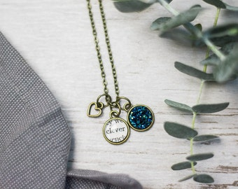 Clever Necklace, Clever Jewelry, Inspirational Jewelry, Bronze, Shiny Silver, Book Lover Gift, Fandom Jewelry, Be Clever, Blue Druzy, Book