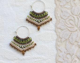 Olive Green, Peach and Copper Silver Hoop Earrings, Beaded Earrings