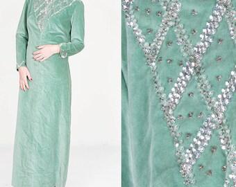 Vintage Mint Silver Velveteen Maxi Dress / Full Length Avant Garde Shiny Sparkle Sequin Dress / Mid Century 50s 60s Women's Size Medium 8 10