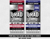 GRADUATION TICKET INVITATION Grad Party - Any Accent Color - Class of 2016 (print your own) Printable Files