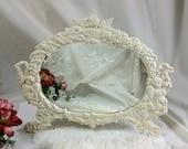 Vintage Vanity Table MIRROR Cast Iron Framed, Oval, Kissing Cherubs, Cupid JM 10, Romantic Art Nouveau-Style