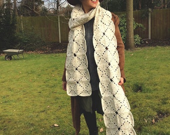 Extra-long White Granny Squares Crochet Scarf