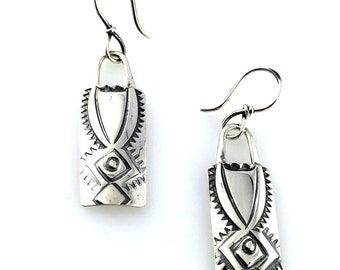 Silver Earrings hand made  stamped design