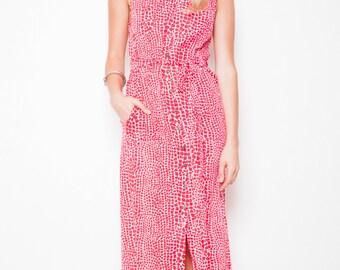 REDUCED was 80 now 50 safari style VINTAGE 70s/80s reptile snake print button down cotton maxi dress