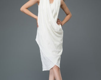 White linen dress women's dress  C910