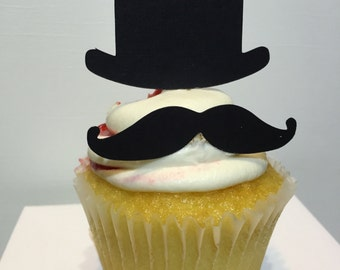 Mustache Cupcake toppers, Top Hat Cupcake Toppers, 12 cupcake toppers, Black, Birthday decor, customizable,