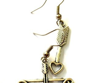 Bow and Arrow Charm Earrings Archery Earrings