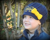 Girls Handmade Crochet Newsboy Hat with bow / Photo Prop / Custom Made / Baby, Toddler, Child, Adult