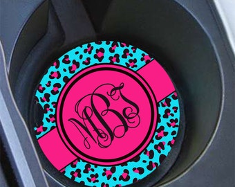 Leopard cup holder coaster for teen girls, Personalised vanity car accessory, Hot pink aqua blue cheetah, Gifts for granddaughter  (1026)