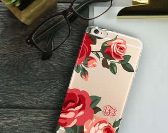 Monogrammed Iphone 6 case clear, Roses Iphone 6s plus case transparent, Pretty women's accessory, TPU bumper, Hard plastic back  (1588)
