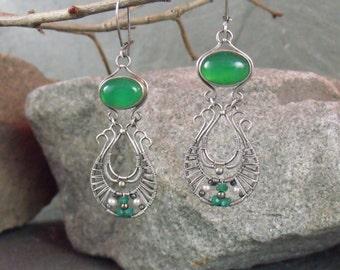 Chalcedony Earrings, Silver Earrings, Dangle Earrings, Onyx Earrings