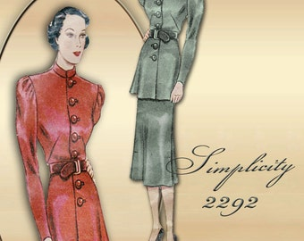 Simplicity 2292 Vintage 1930s Dress Pattern Sophisticated Two Piece Tunic Dress Button Front Plus Size Bust 38
