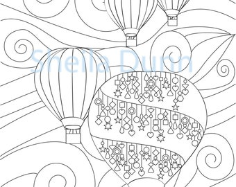 "Hot Air Balloons Coloring Page 8"" x 10"""