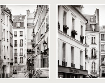 Paris prints set of 2 black and white photography, Black white city architectural art poster, grey large wall art set of two, paris windows