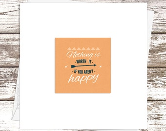 Thinking Of You Card, Happy Card, Happy Quote Card, Life Quotes, Hand