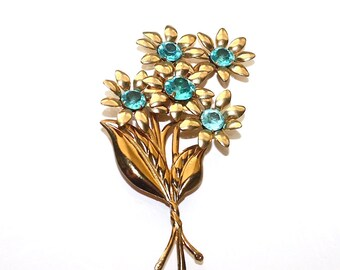 Rhinestone Flower Brooch ~ Large Vintage Blue Rhinestone Flower Bouquet Pin